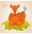 Cute fox sitting in yoga lotus pose and relaxing vector