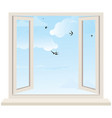 Open window on wall and cloudy sky with birds swal vector