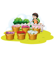 A girl looking at the flowers in the basket vector