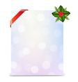 Banner with red ribbon and bokeh with holly berry vector
