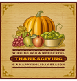 Vintage thanksgiving card vector