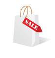 Paper bag white color with sale label vector