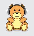 Bear listening music vector