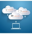 Network clouds with infographic elements and icons vector