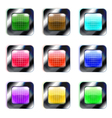 Set of colorful glass square buttons eps10 vector