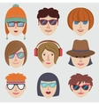Hipster girl faces vector