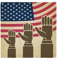 Hands up on american flag old background vector