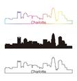 Charlotte skyline linear style with rainbow vector