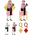 Queen of diamonds asian woman photographer mafia vector