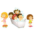Children and bath vector