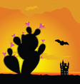 Cactus and castle with bat vector