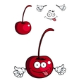 Cute cartoon cherry fruit giving a thumbs up vector