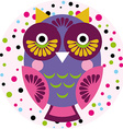 Owl on a pink background in colored polka dots vector