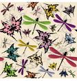 Seamless butterflies and dragonflies vector