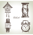 Hand drawn set of clocks and watches vector