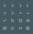Green outline various navigation menu buttons vector