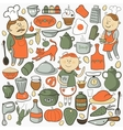 Kitchen set cartoon colorful elements vector