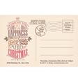 Vintage merry christmas holiday postcard vector