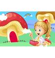 A girl holding a wallet near the giant mushroom vector