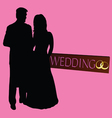 Couple wedding silhouette with rings vector