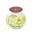Green olives in a jar on white background vector