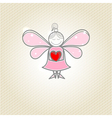 Little fairy with heart in hands vector