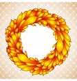 Floral wreath of yellow autumn leaves vector