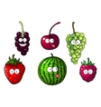 Cute happy colorful cartoon fruits and berries vector