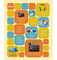 Square label with film icons and space for text vector