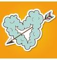 Cloud heart with arrow vector