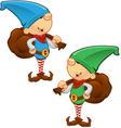 Elf mascot holding a sack vector
