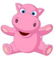 Cute baby hippo cartoon sitting vector