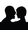 Couple head black silhouette vector
