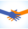 Colorful icon hand shake for business and finance vector