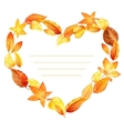 Heart from leaves autumn watercolor vector