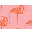 Vintage of a pink flamingo seamless animal pattern vector