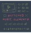 Doodle hand drawn music elements set sketch vector