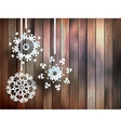 Snowflakes hanging over wooden eps 10 vector