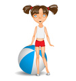 Little girl with ball wearing shorts and t-shirt vector