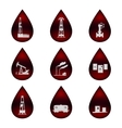 Set of icons in the oil droplets vector