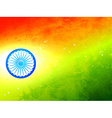 Flag of india made in tricolor texture and wheel vector