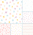 Hand drawn brushes seamless patterns collection vector
