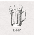 Hand drawn sketch of beer mug vector