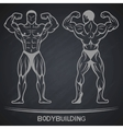 Bodybuilder in two positions on a dark background vector