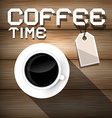Coffee time on wooden background vector