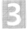 Freehand typography number 3 vector