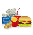 Fast food combo with a burguer french fries soda c vector