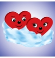 Two hearts on a cloud vector