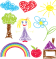 Crayon pained girl icon vector
