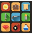 Game resources icons flat vector